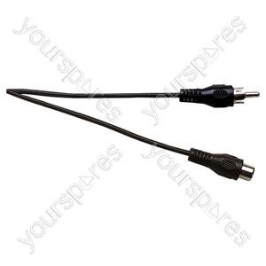 Standard Phono Plug to Phono Socket Screened Lead 5m