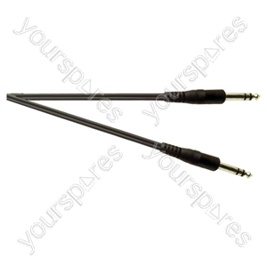 Standard 6.35 mm Stereo Jack Plug to 6.35 mm Stereo Jack Plug Screened Lead - Lead Length (m) 2