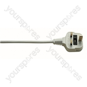 3 Pin UK to Right Angled IEC Mains Lead 5A - Colour White
