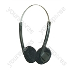 Lightweight Stereo Headphones With Black Pads - Packing Blister