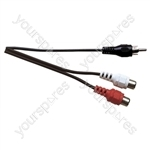Standard Phono Plug to 2x Phono Socket Screened Lead 0.23m
