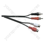 Standard 2x Phono Plugs to 2x Phono Line Sockets Screened Lead - Lead Length (m) 5
