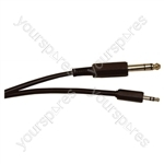 Standard 6.35 mm Stereo Jack Plug to 3.5 mm Stereo Jack Plug Screened Lead - Lead Length (m) 2