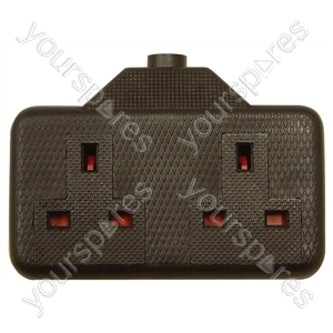 2 Gang Impact Resistant Extension Socket - Colour Black