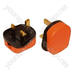 Impact Resistant 3 Pin UK Plug Top - Colour Orange