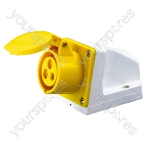 110 V Yellow 16 A 3 Contact High Current Angled Outlet Wall Mount