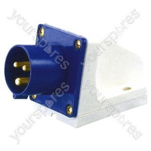 230 V Blue 16 A 3 Contact High Current Angled Inlet Wall Mount