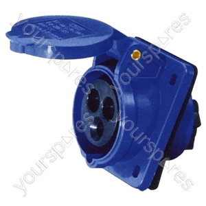 230 V Blue 16 A 3 Contact High Current Angled Outlet Panel Mount