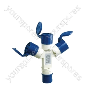 230 V Blue 16 A 3 Contact High Current Splitter