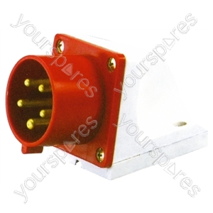 400 V Red 16A 5 Contact High Current Angled Inlet Wall Mount