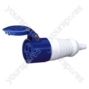 230 V Blue 32 A 3 Contact High Current In-line Socket