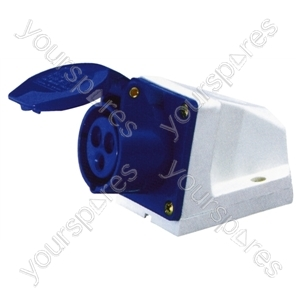 230 V Blue 32 A 3 Contact High Current Angled Outlet Wall Mount Socket