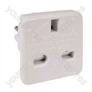 Travel Adaptor (UK to European Schuko) 7.5A - Colour White