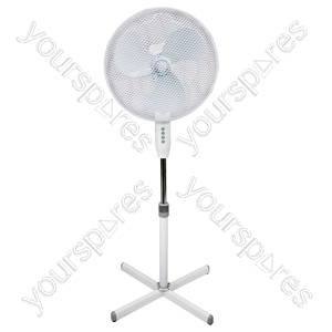 "Prem-I-Air 16"" (40 cm) White Oscillating Pedestal Fan with 3 Speed Settings MkII - Type UK"