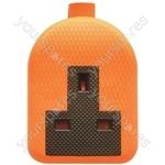Single Gang Impact Resistant Extension Socket Orange