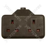 2 Gang Impact Resistant Extension Socket - Colour Black