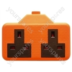 2 Gang Impact Resistant Extension Socket - Colour Orange