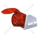 400 V Red 16 A 5 Contact High Current Angled Outlet Wall Mount