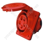 400 V Red 16 A 5 Contact High Current Angled Outlet Panel Mount