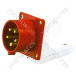 400 V Red 32 A 5 Contact High Current Angled Inlet Wall Mount