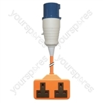 16 A High Current Plug to 2 x 13 A Sockets Adaptor Lead