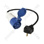 16 A High Current Socket to 13 A Plug Adaptor Lead