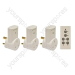 Eagle 3 Way Remote Control Mains Socket Adaptor Set