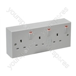 Triple Switched Socket with Back Box