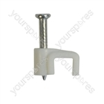 Flat White Cable Clips (20) - Size 2mm