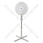 "16"" (40 cm) White Oscillating / Height Adjusting 3-Speed Pedestal Fan with Remote Control and Timer MKII - Type UK"