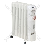 Prem-I-Air Elite 2.5 kW 11 Fin Oil Filled Radiator with Timer - Colour Soft Grey