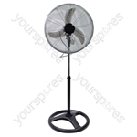 "Prem-I-Air 18""(49 cm) Black/Silver Oscillating Pedestal HV Fan with 3 Speed Settings and Extra Weighted Base for Stability"
