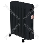 Prem-I-Air Elite 2.5 kW 11 Fin Oil Filled Radiator with Timer - Colour Black