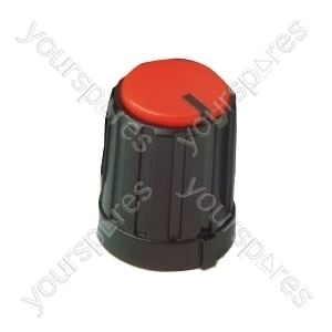 6mm Rotary Pointer Knob with Coloured Cap and Push On Fitting - Cap Colour Red