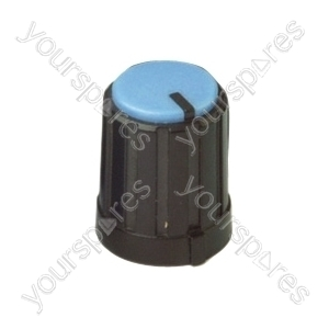 6mm Rotary Pointer Knob with Coloured Cap and Push On Fitting - Cap Colour Blue