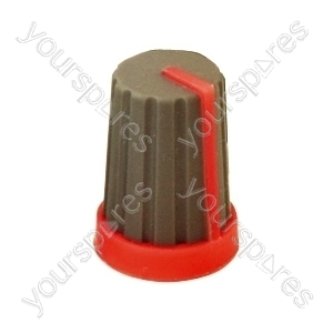 Rubber Touch Rotary Knob with Coloured Pointer - Pointer Colour Red