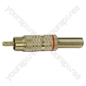 Red High Quality Metal Cover Phono Plug For Cable Up To 5mm With Solder Terminals