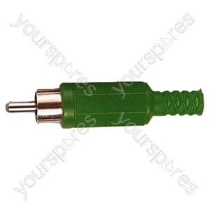Standard Phono Plug with Soft Plastic Cover and Solder Terminals - Colour Green