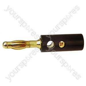 4mm Banana Plug with Hard Plastic Cover and Gold Plated Screw Terminals - Colour Black
