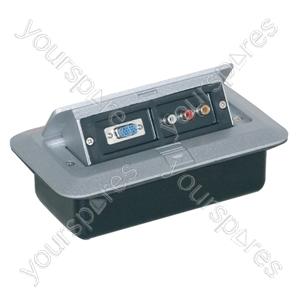 Pop-up AV Combination Plate with 15 Pin D & Phono Sockets