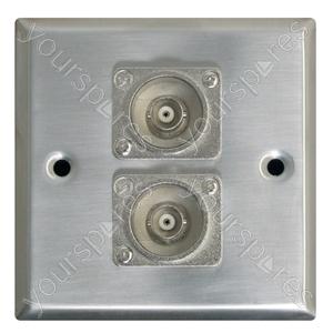 Metal AV Wall Plate with 2 x BNC Sockets