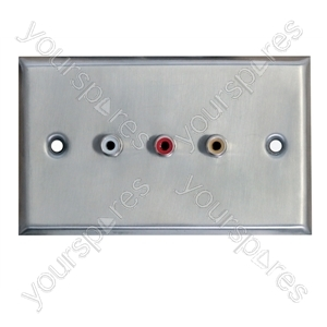 Metal AV Wall Plate with 3 x Phono Sockets