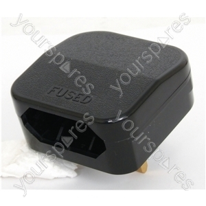 Black 3 A Fused Converter Plug 2 Pin Transformer Plug to 3 Pin UK Plug