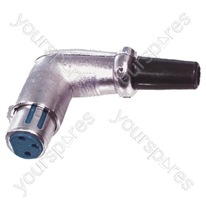 3 Pin Right Angled XLR Line Socket With Cable Protector and Solder Terminals