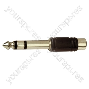 6.35 mm Stereo Plug to RCA Phono Socket Adaptor