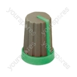 Rubber Touch Rotary Knob with Coloured Pointer - Pointer Colour Green