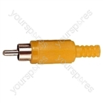 Standard Phono Plug with Soft Plastic Cover and Solder Terminals - Colour Yellow