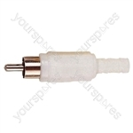 Standard Phono Plug with Soft Plastic Cover and Solder Terminals - Colour White
