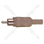 Standard Phono Plug with Soft Plastic Cover and Solder Terminals - Colour Grey