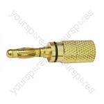 4 mm High Quality Gold Plated Banana Plug with Colour Coded Band  - Colour Black